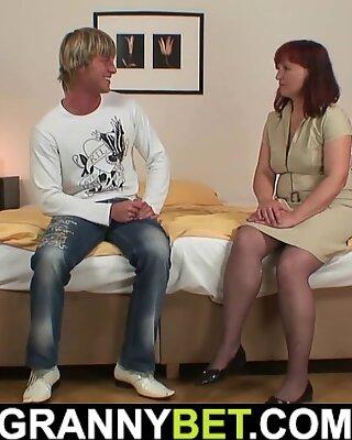 busty redhead hot granny tourist in stockings fucks stranger's cock
