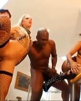one asian and one blond share two cocks in all holes anal