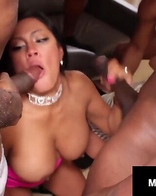 Asian Mommy Maxine X &amp_ Milf Alexis Golden Trashed By 5 BBCs!