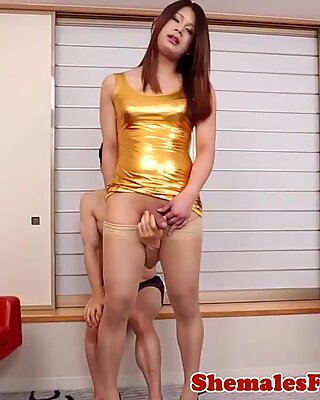 Japanese newhalf assfucked while jerking off