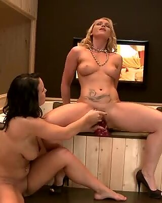 Nicoll Kathia and Nobili playing soft with red dildo