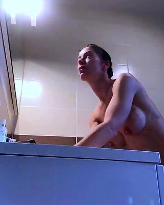 Hidden Cam. Hot Body Milf takes a Shower 2