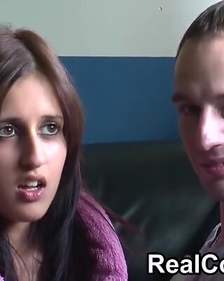 Real couple Zarina and Jay chat before having sex on camera