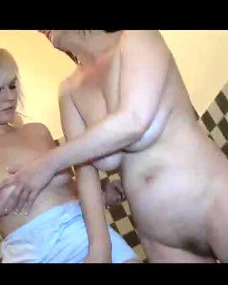 Horny granny having horny sex in the kitchen