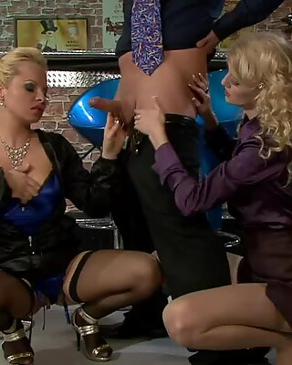 Sharka Blue and other fully clothed babe do cock share