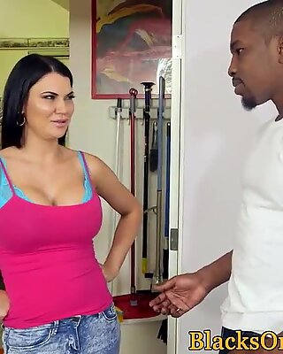 Busty MILF buttfucked by big black cocks