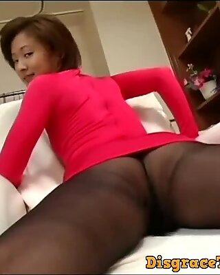 Japanese av model shame ! voyeur : hairy pussy through pantyhose ! 4