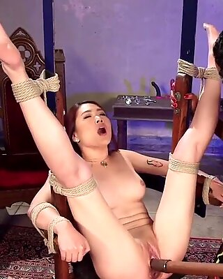 Ebony dom toys butt plugged Asian