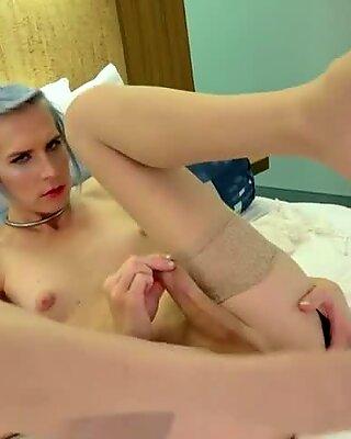 Masturbating femboi jerking her dick nicely