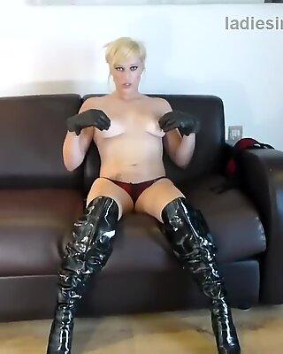 Kinky blond in footwear undies masturbates with naughty soft leather gloves