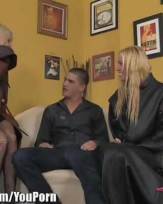 Blonde MILF shows Step-Daughter How to suck huge cock