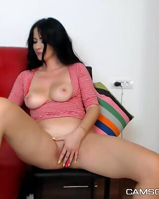 Charming Busty Whore Makes Herself Squirt