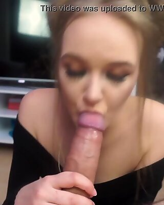 Cute girl makes big cock cum on her face