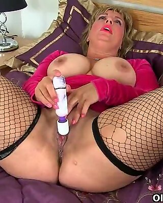 huge-chested milf Danielle plumbs herself with a faux-cock