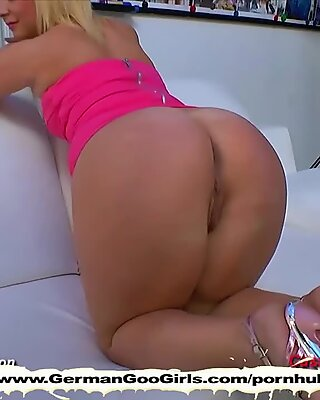 Blonde bombshells fingering their pussies and satisfying dicks