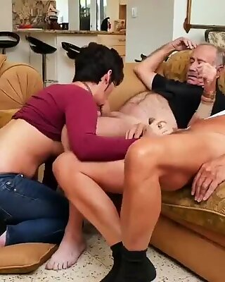 Tattooed nanny and daddy teaches me to wrestle first time