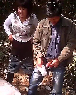 Prostituta asiatica sveltina all'aperto