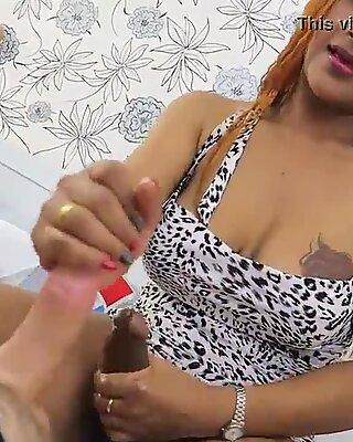 Hung ladyboy from Thailand named Jasmine double handjob