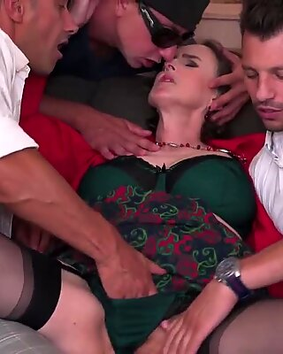 fur covered mature mommy boinked by 3 boys in all holes