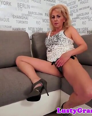 Chubby granny banged by her bfs black cock