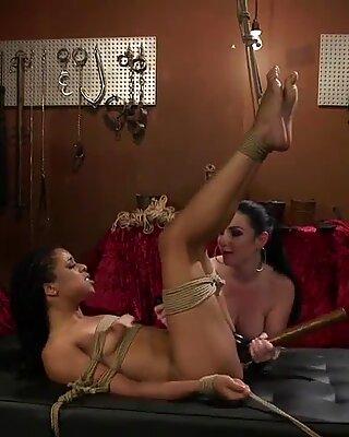 Ebony lesbian victim rectal ravaged