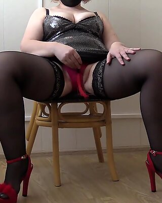 Verbal domination from a chic mistress. Busty milf in stockings orders to lick her hairy cunt and big ass doggystyle. Fetish.