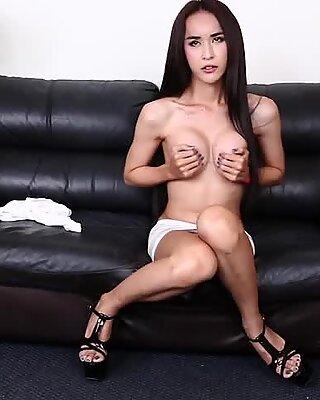 Sexy perky tittied ladyboy wanks her dick