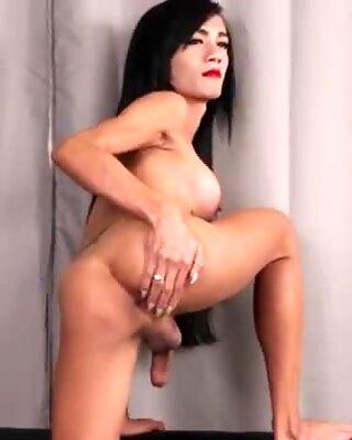 Busty asian tgirl spreads her ass cheeks