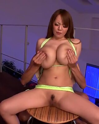 Asian with giant big tits wearing micro dress