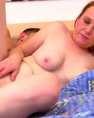 Redhead mature mom pleasing strong son