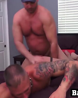Handsome inked guy got his butt pounded by hairy mature guy