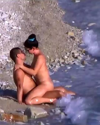 Amateur nudist wife public beach handjob