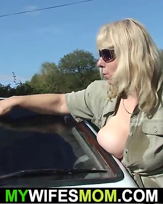 She finds him fucking big tits mother outdoors