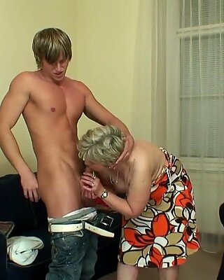 Lonely 60 years aged granny swallows ample manstick