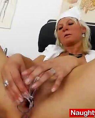 Cute wife nurse plays plus the pussy-spreader